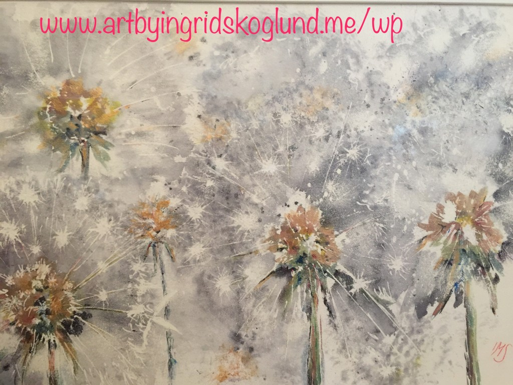 Very large waxed watercolour with a touch of acrylic - Dandelion Clock Five O'Clock Rock. SOLD