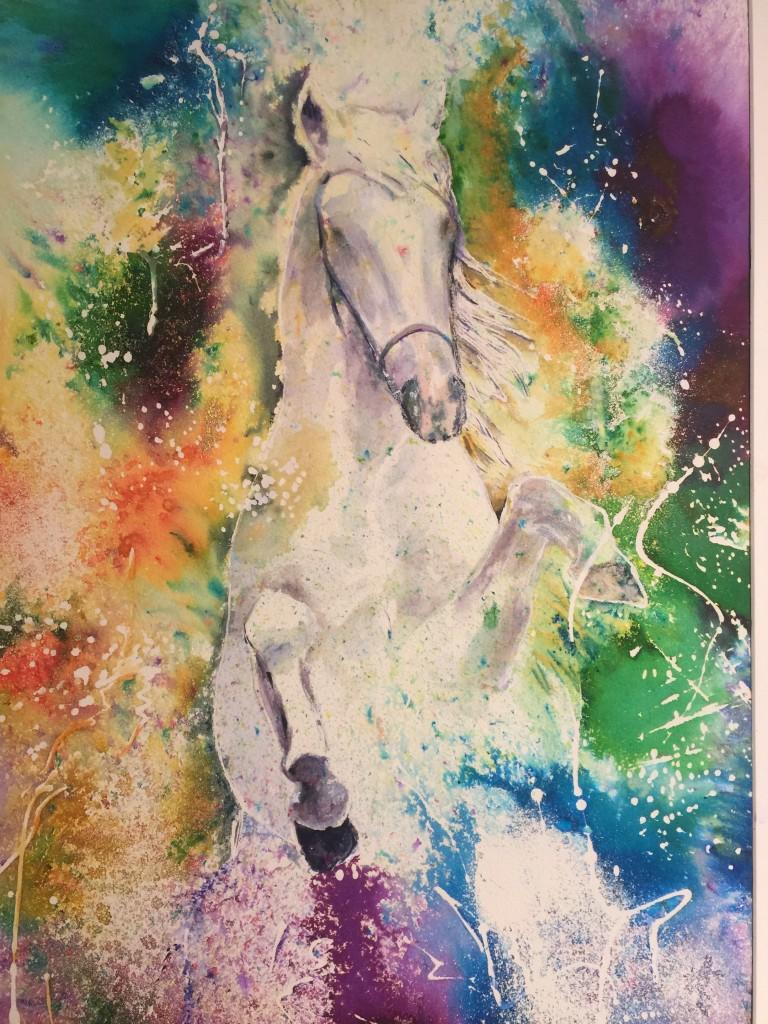 Rearing horse in sea foam